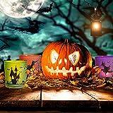 MJ PREMIER Halloween Teelichthalter, 6 Stück Kerzenhalter 7x7x8 cm Halloween Dekoration, Kürbis und Hexe Windlicht, Teelichtgläser für Halloween Deko, Tischdeko, Party, Geschenk - 5