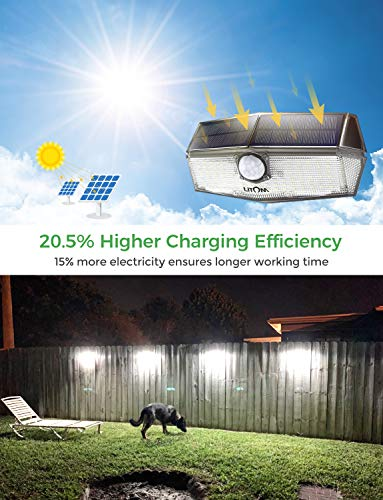 LITOM 120 LED Solar Lights Outdoor, upgraded Solar Panel with 3 Optional Modes and 270°Wide Angle, IP67 Waterproof, Portable Solar Powered Security Light 4 Pack