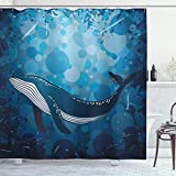 ABAKUHAUS Wal Duschvorhang, Marine Motiv Ozean Retro, mit 12 Ringe Set Wasserdicht Stielvoll Modern Farbfest & Schimmel Resistent, 175x200 cm, Violettblau &