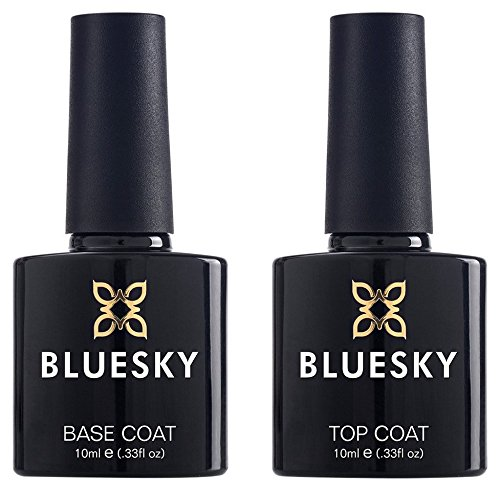 Bluesky UV LED Gel auflösbarer Nagellack 10ml kit top and base coat, 1er Pack (1 x 2 Stück)