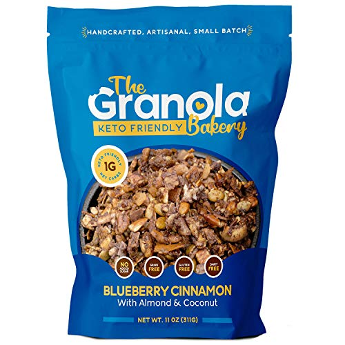 The Granola Bakery Keto Granola   Low Carb Keto Cereal   1g Net Carb   Low Sugar Keto Snack   Keto Breakfast   Diabetic, Keto Friendly   Small Batch, Hand Crafted   Blueberry Pecan, 11 Ounces
