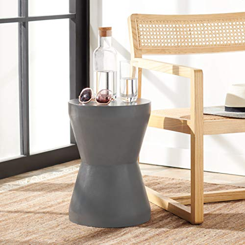 Safavieh Outdoor Collection Torre Modern Concrete Dark Grey 17.3-inch Accent Table