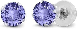 14K White Gold Round Blue Tanzanite Gemstone Birthstone Earrings (0.92 Cttw, 5MM)