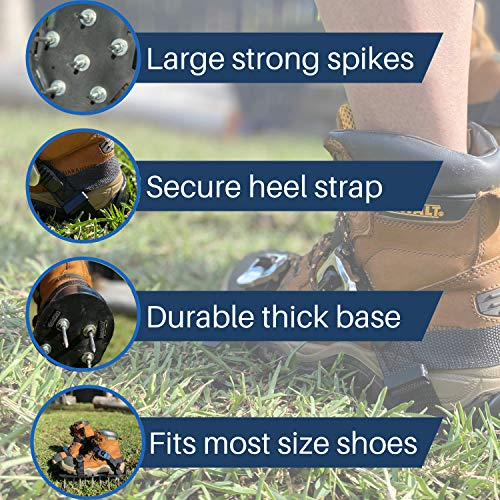 Lawn Aerator Shoes with Self-Tightening Straps 100% Fully Assembled Lawn Aerator Sandals by Montville Garden