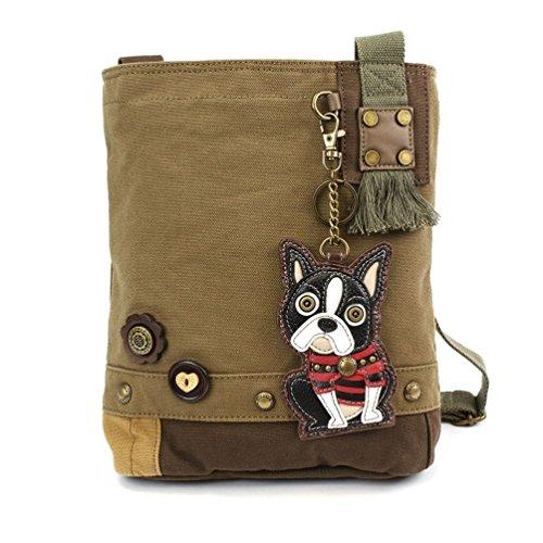 CHALA Damen Handtasche/Umhängetasche, Segeltuch, Olivgrün, (Boston Terrier), Einheitsgröße