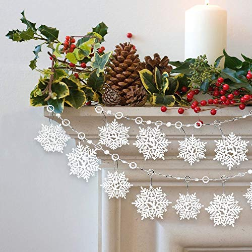 BANBERRY DESIGNS White Glittered Snowflake Banners - Set of 2 Garlands Winter Wonderland Party Decorations - Christmas Snowflakes