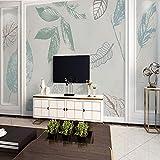 MILUSEN Mural simple de hojas grandes, papel tapiz blanco azul