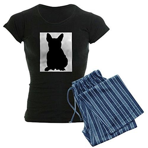 CafePress French Bulldog Silhouette Women's Dark Pajamas Womens Novelty Cotton Pajama Set, Comfortable PJ Sleepwear