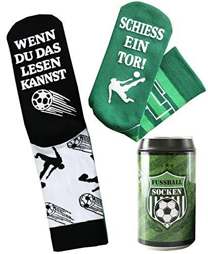 Fussball Socken - Geburtstagsgeschenk für Fußballfans und Fußballer, in einer Design Geschenk-Dose, ausgefallenes Geschenk für Männer & Frauen, mit Spruch