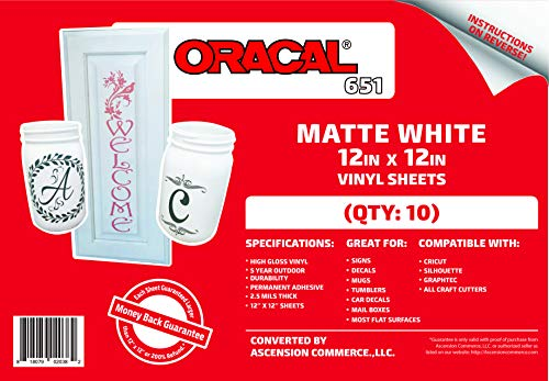 """(10) 12"""" x 12"""" Sheets - Oracal 651 Matte White Adhesive Craft Vinyl for Cricut, Silhouette, Cameo, Craft Cutters, Printers, and Decals - Matte Finish and Outdoor and Permanent 