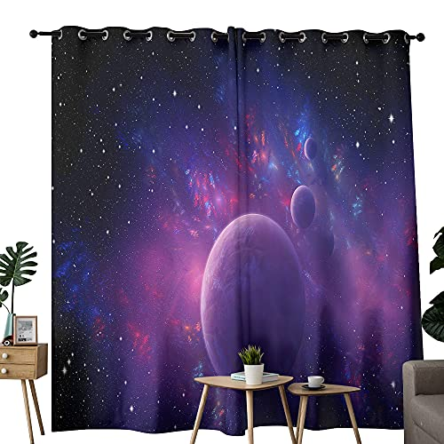 Enigma - Cortinas de nebulosa fractal para sala de estar, cortinas aisladas térmicas para dormitorio, 2 paneles de 213 x 137 cm