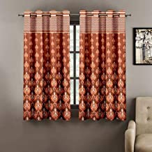 Cortina Feel The Tropical Eyelet Polyester Window Curtain - 5 ft, Orange