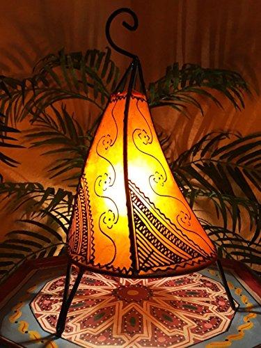 Orientalische Tischlampe Kayra 38cm Lederlampe Hennalampe Lampe | Marokkanische kleine Tischlampen aus Metall, Lampenschirm aus Leder | Orientalische Dekoration aus Marokko, Farbe Orange