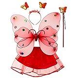 siwetg Juego de 4 alas de mariposa con LED de doble capa para niñas, con tutú, falda, hada, varita mágica, diadema, princesa, fiesta, disfraz de princesa, 2-8 T