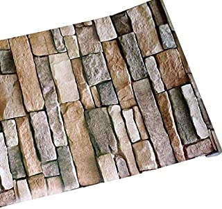 GURMORE Stone Brick Wallpaper, 3D Effect PVC Peel and Stick Wallpaper for Home Design and Room Decoration (brick01)