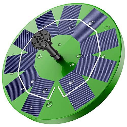 AISITIN Fontein op zonne-energie, met 3,0 W, groen zonnepaneel, vijverpomp, waterpomp op zonne-energie, drijvende fonteinpomp met 6 fonteinstijlen voor tuin, vogelbad, visreservoir