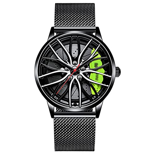 HEEYEE Rueda Reloj Hombres Deportes Cuarzo Impermeable Sport Rim Hub Wheel Reloj Reloj de Carro Cuarzo Relojes Hombres,Verde,B