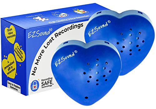 EZSound Teddy Bear Voice Recorder | 2 Pack - 30 Seconds Toy Voice Box for Stuffed Animal | Create Your own Recordable Gifts or Heartbeat Bear | Recording Safe Technology Heart Message Box (Blue)
