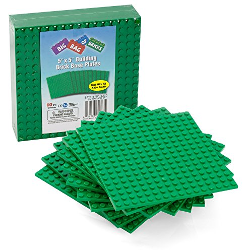 Brick Building Base Plates - 5 x 5 Green Baseplates (10pcs) - Dual Side Connectivity, Tight Fit w All Brands