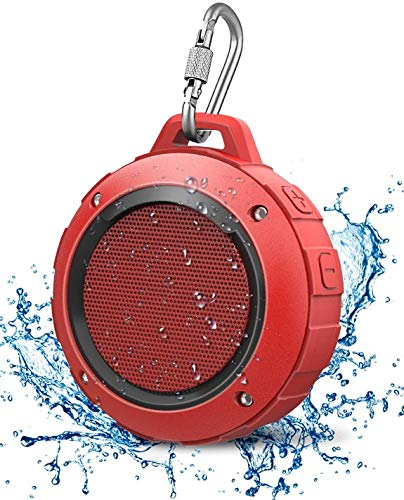 small size Waterproof outdoor bluetooth speaker, Kunodi wireless portable mini shower speaker with subwoofer, amplified bass, built-in microphone for sports, pool, beach, hiking and camping (red)