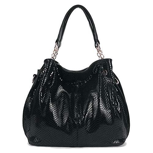 KrisAnna Damen Hobo Schultertasche aus PU-Leder mit Schulterriemen Shopper Tasche Umhängetasche Handtasche Ketten Henkel für Frauen Schwarz EINWEG