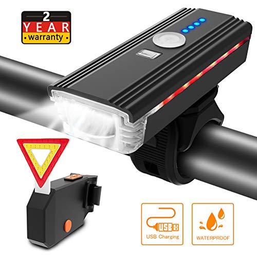 ITSHINY Lumière de Vélo USB Rechargeable - d'éclairage de Vélo de 400 Lumens Phare de vélo,...