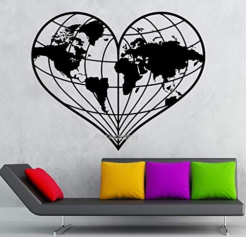 Wall Stickers,The most designed wall sticker heart shaped world map earth geography peace vinyl decals removable mural sofa background decoration 70x56cm