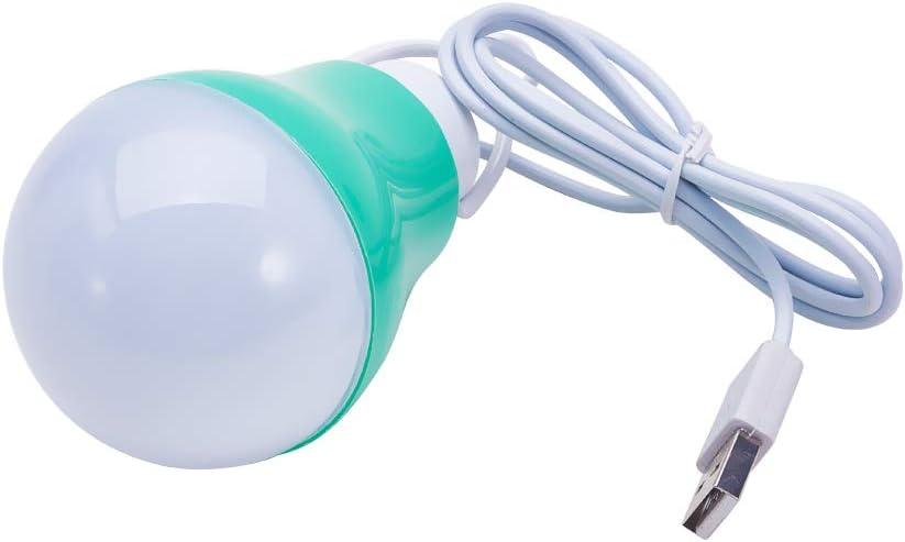 Othmro USB Bulb lamp DC3V-12V 5W 6500-7000K 0.9 Power Factor PC Lamp Body Material 5730 Lamp Bead Model Light Green 1PCS