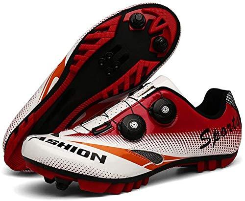 WYUKN Zapatillas De Ciclismo MTB para Hombre Zapatillas De Montaña SPD Zapatillas De Bicicleta De Carretera Zapatillas De Ciclismo Al Aire Libre con Tacos SPD,Red-42EU=(260mm)