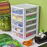 Small 5 Drawer Tower Plastic Organizer Storage Office Cabinet Box