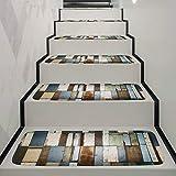 BonTime Alfombrillas para alfombras de Escalera de 5 Piezas Alfombrilla para peldaños para Alfombrilla Antideslizante Alfombra de Alfombra 70x22 cm Size Vintage Wooden Board