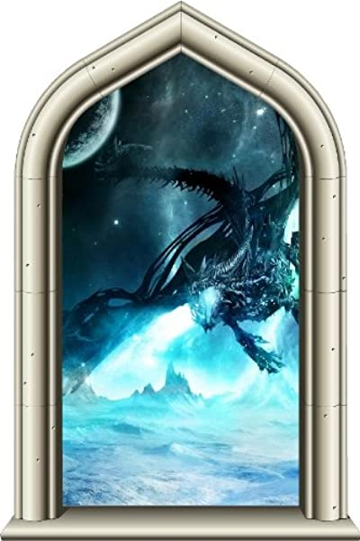 24 Castle Scape Window Instant View Ice Dragon 1 Wall Sticker Decal Graphic Mural Home Kids Game Room Office Art Decor