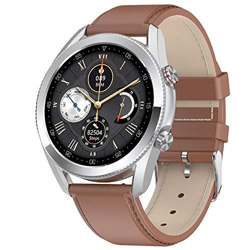 UIEMMY Smartwatch 2020 IP68 Smart Watch Men 2020 ECG Hombre Smart Watch para AndroidiOS, Cuero marrón Plateado
