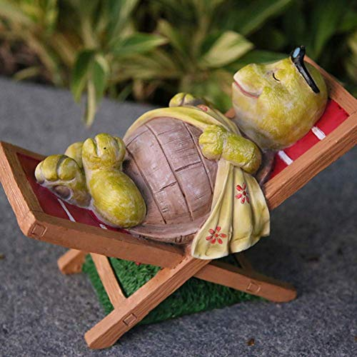 Estatua impresionante jardín de la escultura del ornamento creativo Esculturas tortuga silla del ocio estatua de la resina linda escultura Pastoral Animal Inicio ornamento de la decoración del jardín