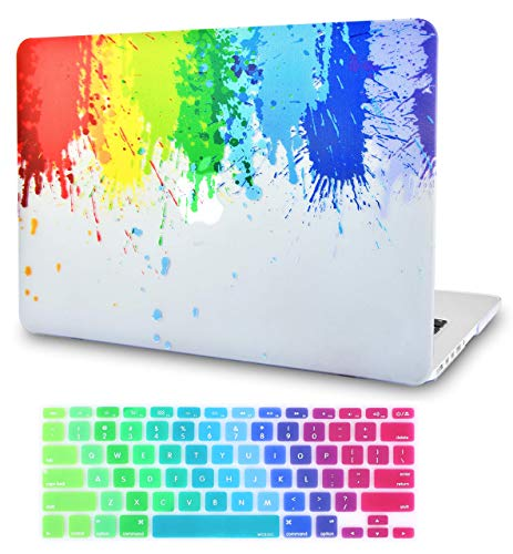 LuvCase 2 in 1 Laptop Case for MacBook Air 13 Inch A1466/A1369 (No Touch ID)(2010-2017) Rubberized Plastic Hard Shell Cover & Keyboard Cover (Rainbow Splat)