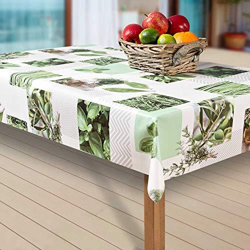 laro Wachstuch-Tischdecke Abwaschbar Garten-Tischdecke Wachstischdecke PVC Plastik-Tischdecken Eckig Meterware Wasserabweisend Abwischbar AU, Muster:Rosmarin. Olive. grün, Größe:100-140 cm