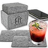 Hometastic Premium Filzuntersetzer im 14er Set | 12 Glasuntersetzer + 2 Tischuntersetzer für's Smartphone | Untersetzer in hellgrau für Getränke, Tassen, Cocktails und Glas (quadratisch hellgrau)