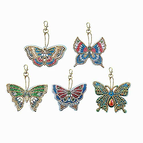 HuaCan 5 Pack DIY 5D Diamond Painting Butterflies Keychain Round Drill Keyring Crystal Rhinestone Bag Pendant Cross Stitch Mosaic Arts Craft Paint by Number Kits for Kids Adults