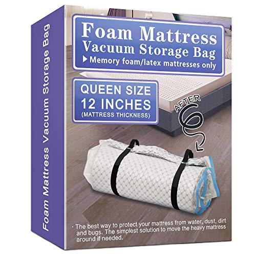 Queen Size Memory Foam Mattress Vacuum Storage Bag for 12 inches Mattress, Waterproof and Airtight Vacuum Seal Mattress Bags for Moving, Shipping and Storage with 2 Moving Straps
