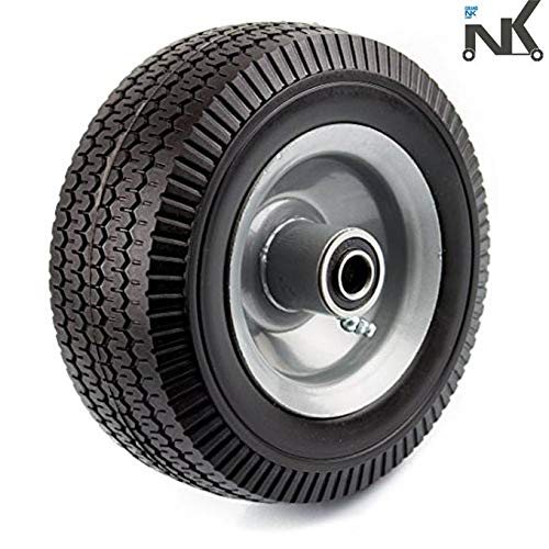 NK Troy Safety WFF8 Heavy Duty 8-Inch Solid Rubber Flat Free Tubeless Hand Truck/Utility Tire Wheel