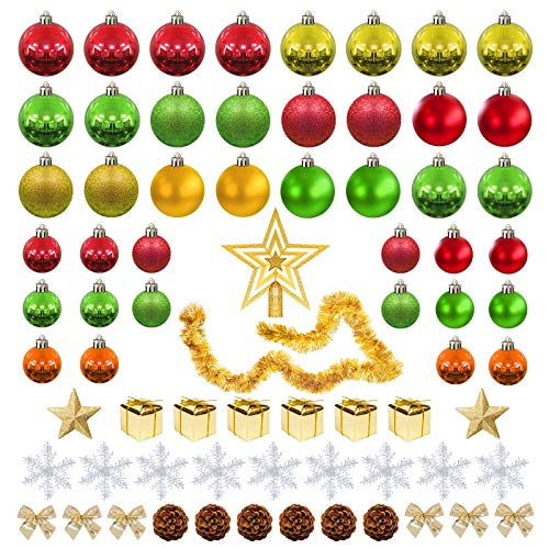 Enrack 71pcs Tinsel Christmas Decorations Including Tree Topper Baubles Christmas Balls Snowflakes Stars Bowknot Pine Cones Miniature Gift Boxes For Home Colorful Design (Red gold green)