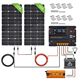 ECO-WORTHY 200W 12V/24V Off-Grid-Sonnenkollektor-Kits: 2 Stück 100W Solarpanel +600W...