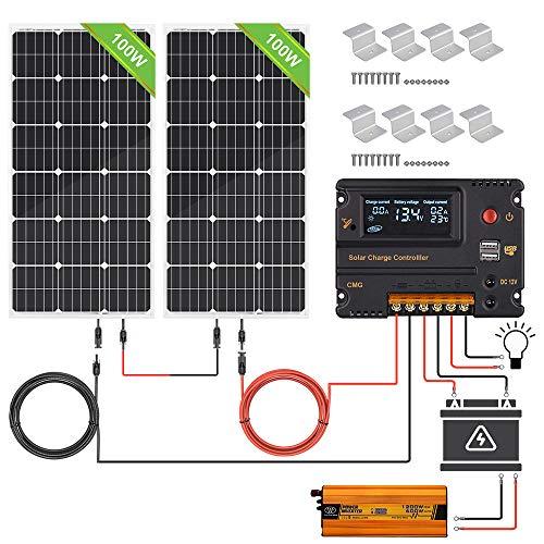 ECO-WORTHY 200W 12V/24V Off-Grid-Sonnenkollektor-Kits: 2 Stück 100W Solarpanel +600W Wechselrichter+ 20A-Batterie-Regler laden intelligenten Controller für das 12/24V-Ladesystem
