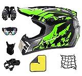 Casco da motocross verde caschi motocross uomo per bambino e adulti,integrale moto casco set da motociclista MX AVT per offroad downhill enduro scooter sport (M(55-56 CM))