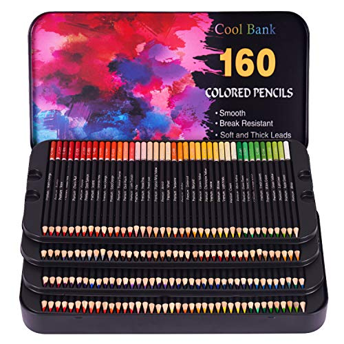 160 Professional Colored Pencils, Artist Pencils Set for Coloring Books, Premium Artist Soft Series Lead with Vibrant Colors for Sketching, Shading & Coloring in Tin Box