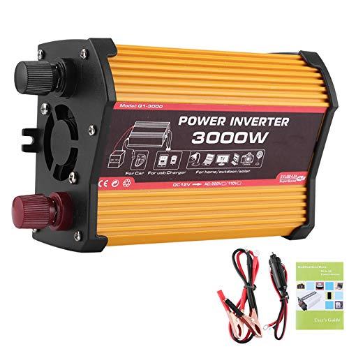 Qiilu Inverter di alimentazione per auto, adattatore a onda sinusoidale modificato con doppio inverter per auto USB 3000W(Da 12V a 220V)