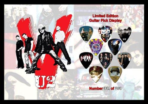 U2 Premium Celluloid Chitarra Pick Plettro Plettri Display Large A4 Sized