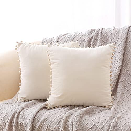 Xnuoyo 2er Set Samt Kissenbezug Kissenhülle Quadratischer Kissenbezug mit Pompons und Unsichtbarem Reißverschluss, zur Dekoration von Wohnzimmer, Schlafzimmer, Sofa, 45 x 45 cm(Beige, 45 * 45CM)