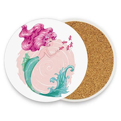 Nette Meerjungfrau Vektor-Design-Vorlage Design-Karten Herren-Untersetzer Cup Untersetzer für Schreibtisch mit Keramik Stein und Kork Basis für Arten von Bechern und Tassen