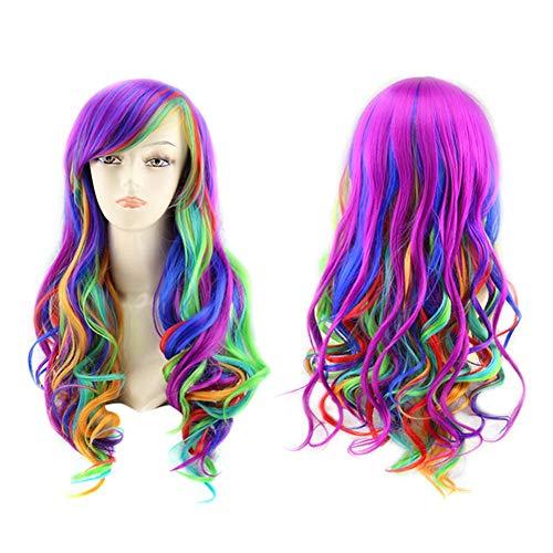 Peluca de color de peluca de anime de siete colores arcoíris cosplay peluca de color arco iris Harajuku Gradiente Cosplay peluca